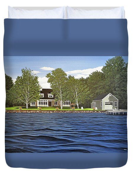 Duvet Cover featuring the painting Langer Summer Home Lake Simcoe by Kenneth M Kirsch