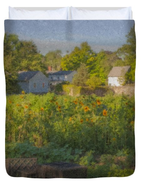 Langwater Farm Sunflowers And Barns Duvet Cover