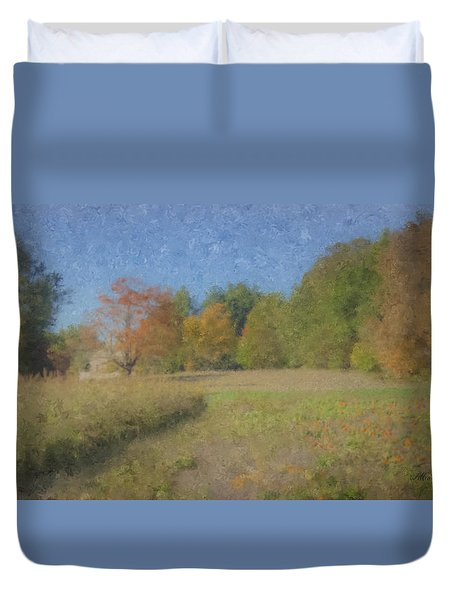 Langwater Farm With Pumpkins And Chateau Duvet Cover