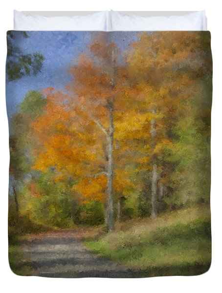 Langwater Path In October Duvet Cover