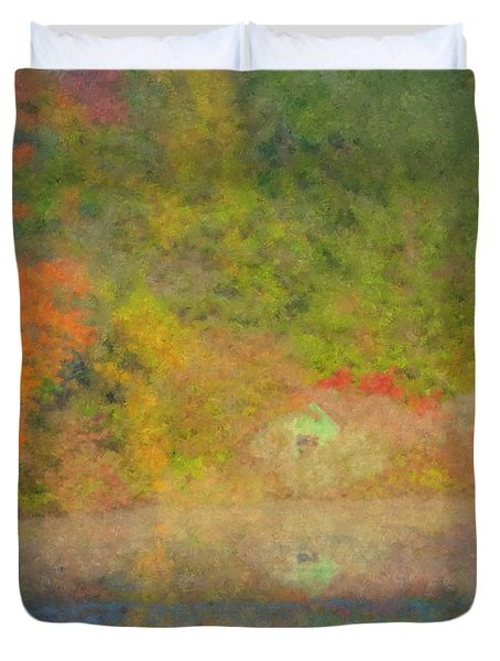 Langwater Pond Boathouse October 2015 Duvet Cover