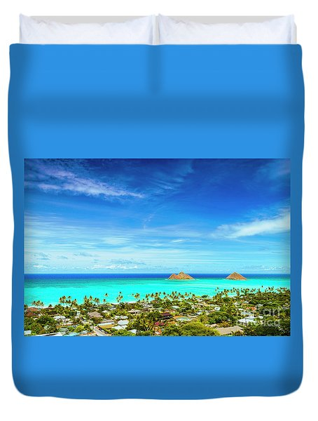 Duvet Cover featuring the photograph Lanikai Beach From The Pillbox Trail by Aloha Art