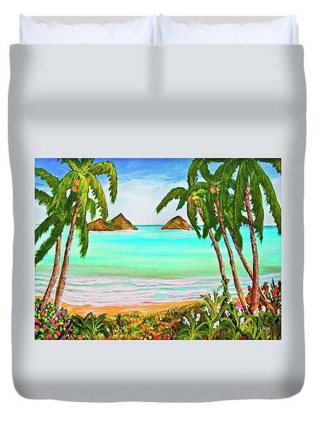 Lanikai Beach Oahu Hawaii #358 Duvet Cover by Donald k Hall