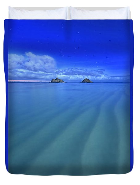 Duvet Cover featuring the photograph Lanikai Beach Ripples In The Sand by Aloha Art