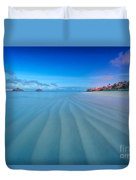Lanikai Beach Ripples In The Sand Wide Duvet Cover