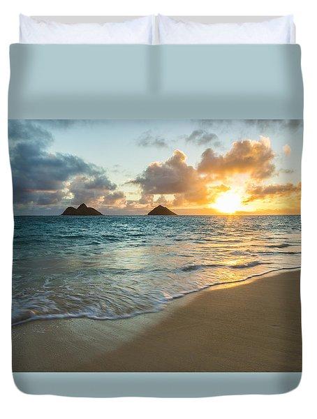 Lanikai Beach Sunrise 2 Duvet Cover by Leigh Anne Meeks