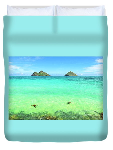 Lanikai Beach Two Sea Turtles And Two Mokes Duvet Cover