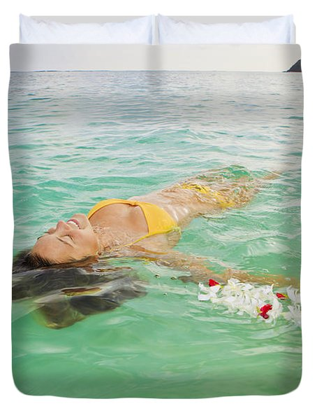 Lanikai Floating Woman Duvet Cover by Tomas del Amo - Printscapes