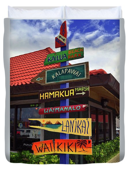 Duvet Cover featuring the photograph Lanikai Kailua Waikiki Beach Signs by Aloha Art
