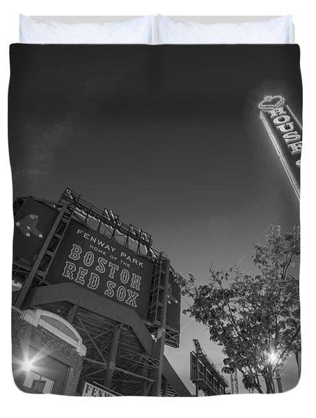 Lansdowne Street Fenway Park House Of Blues Boston Ma Black And White Duvet Cover
