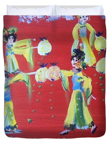 Duvet Cover featuring the painting Lantern Dance by Judith Desrosiers