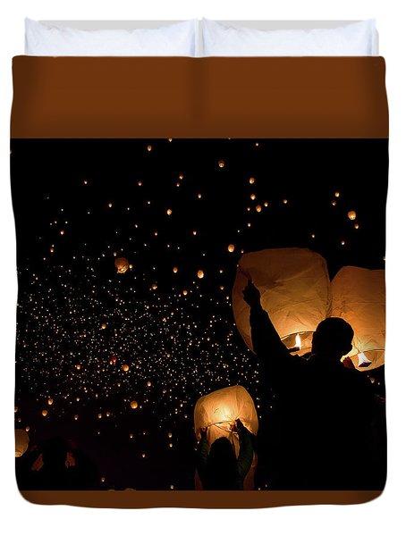 Lantern Fest Group Duvet Cover