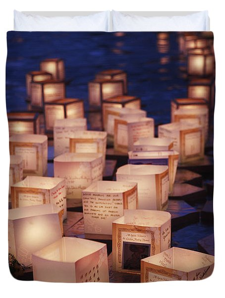 Lantern Floating Ceremony Duvet Cover by Brandon Tabiolo - Printscapes