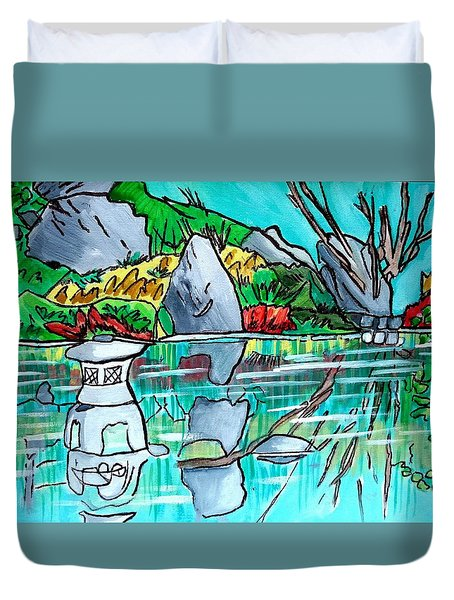 Lantern In Pond Duvet Cover