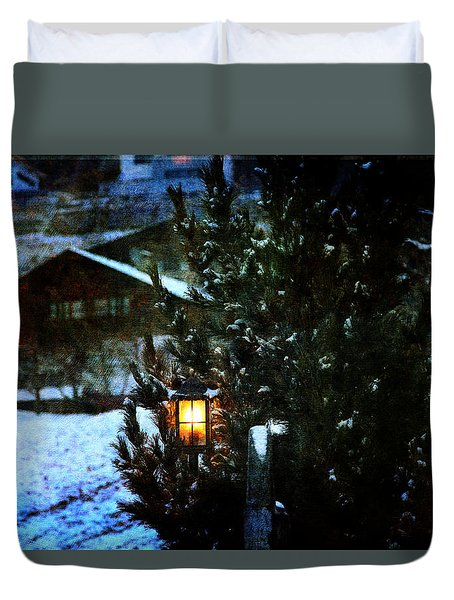 Lantern In The Woods Duvet Cover