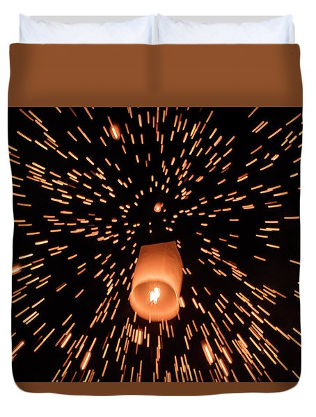 Duvet Cover featuring the photograph Lanterns In The Sky by Pradeep Raja Prints