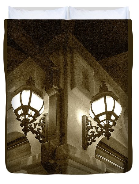 Duvet Cover featuring the photograph Lanterns - Night In The City - In Sepia by Ben and Raisa Gertsberg
