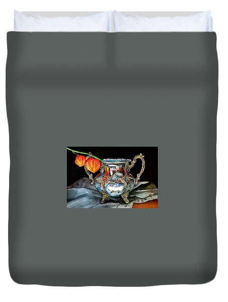 Lanterns On Silver Duvet Cover