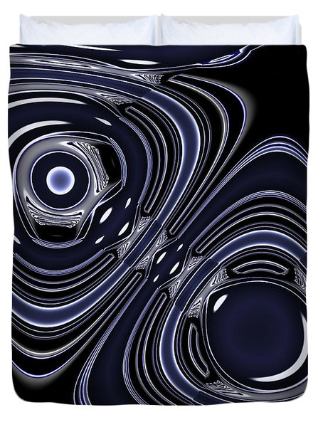 Lapis And Chrome Abstract Duvet Cover