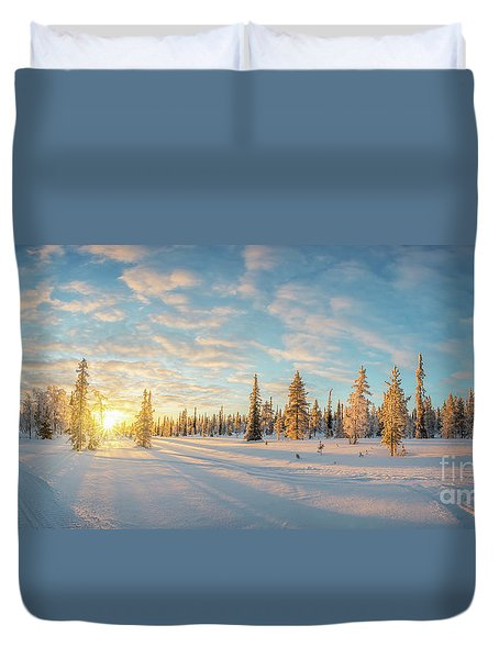 Lapland Panorama Duvet Cover by Delphimages Photo Creations