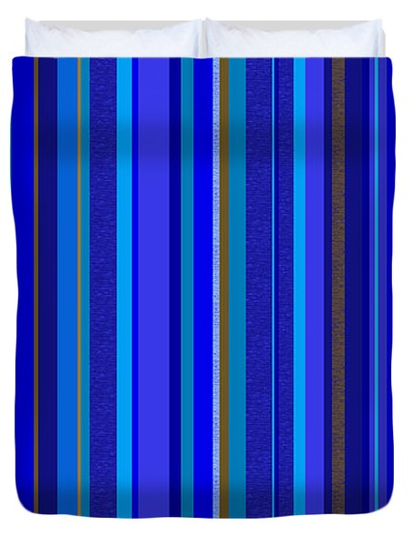 Duvet Cover featuring the digital art Large Blue Abstract - Panel Three by Val Arie