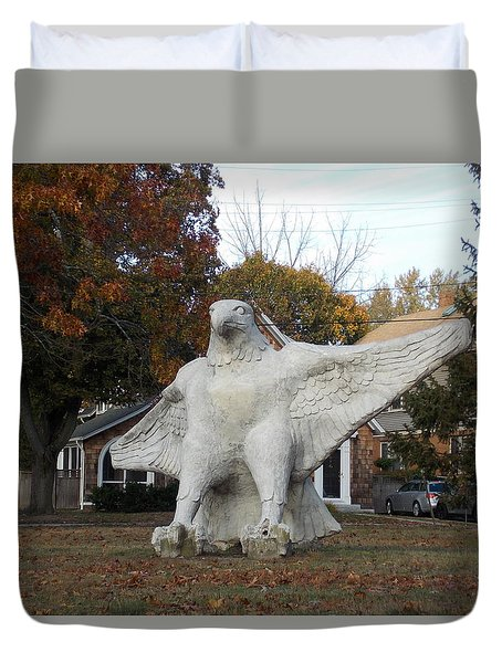 Large Carved Eagle Duvet Cover