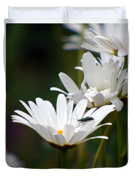 Duvet Cover featuring the photograph Large Daisies With Bug by Lynn Bolt