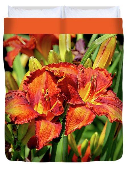 Large Deep Orange Tiger Lilys Duvet Cover