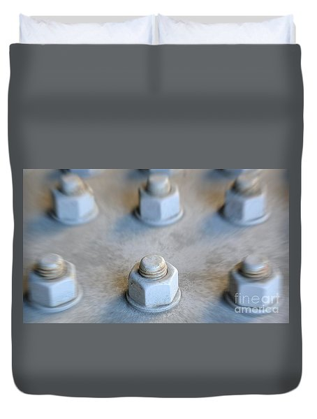 Large Nut And Bolt With Specific Focus Duvet Cover