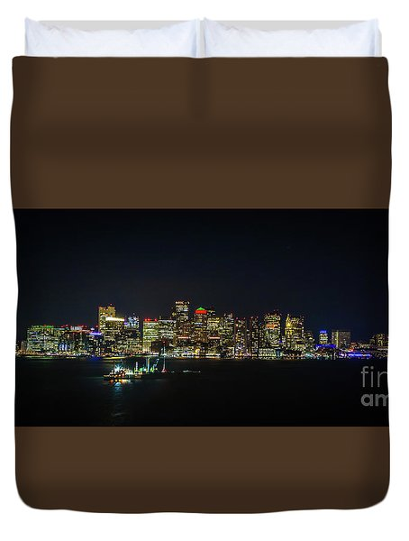 Large Panoramic Of Downtown Boston At Night Duvet Cover