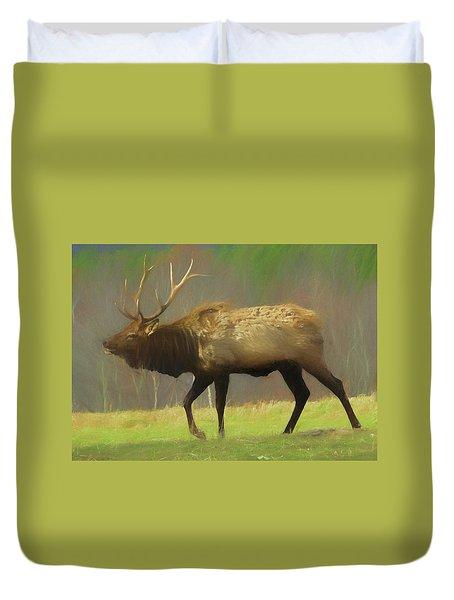 Large Pennsylvania Bull Elk. Duvet Cover
