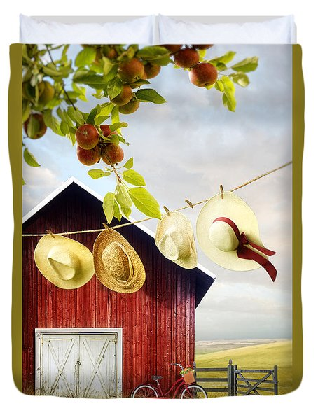 Large Red Barn With Hats On Clothesline In Field Of Wheat Duvet Cover by Sandra Cunningham