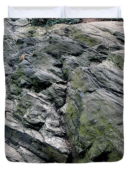 Duvet Cover featuring the photograph Large Rock At Central Park by Sandy Moulder