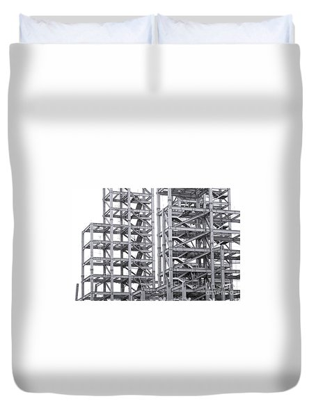Duvet Cover featuring the photograph Large Scale Construction Project With Steel Girders by Yali Shi