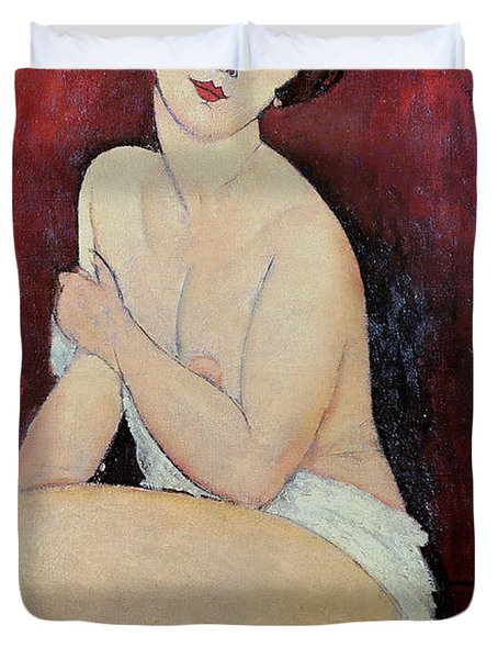 Large Seated Nude Duvet Cover by Amedeo Modigliani
