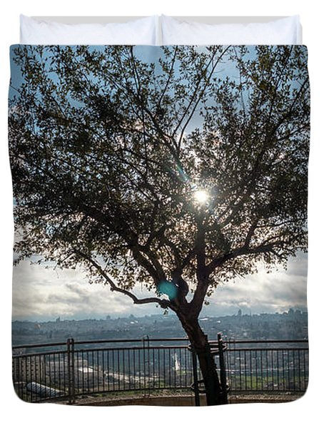 Large Tree Overlooking The City Of Jerusalem Duvet Cover