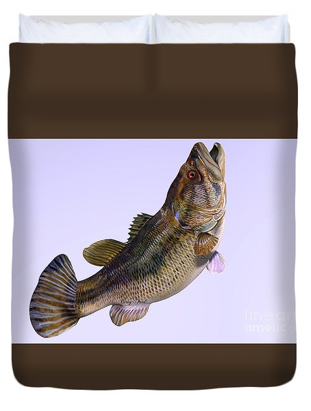 Largemouth Bass Side Profile Duvet Cover by Corey Ford