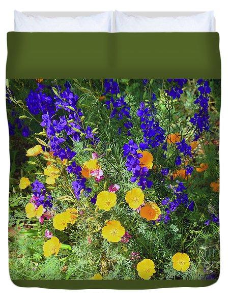 Larkspur And Primrose Garden Duvet Cover