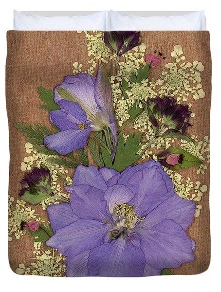 Larkspur And Queen-ann's-lace Pressed Flower Arrangement Duvet Cover