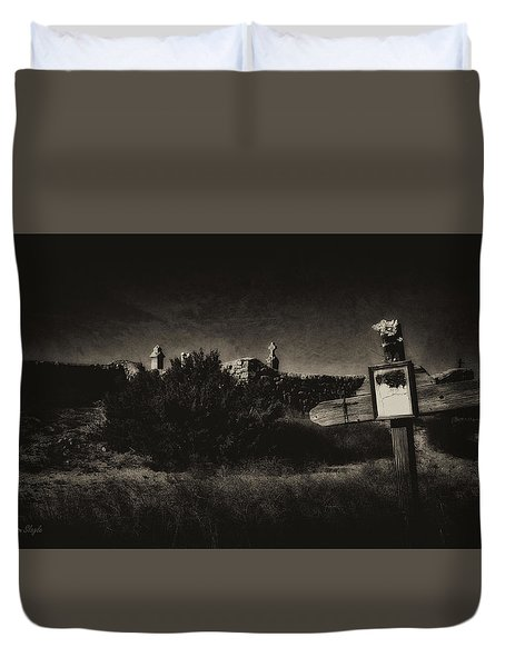 Las Cruces De Galisteo New Mexico Duvet Cover by Karen Slagle