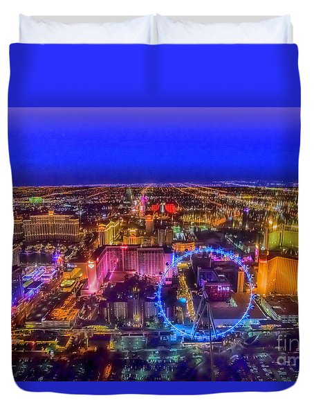 Las-vegas Aerial Golden Hour Duvet Cover