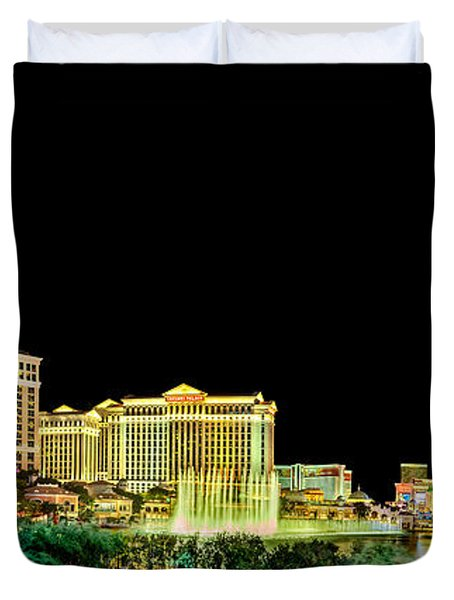 Las Vegas At Night Duvet Cover by Az Jackson