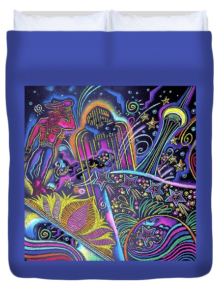 Duvet Cover featuring the painting Las Vegas by Leon Zernitsky