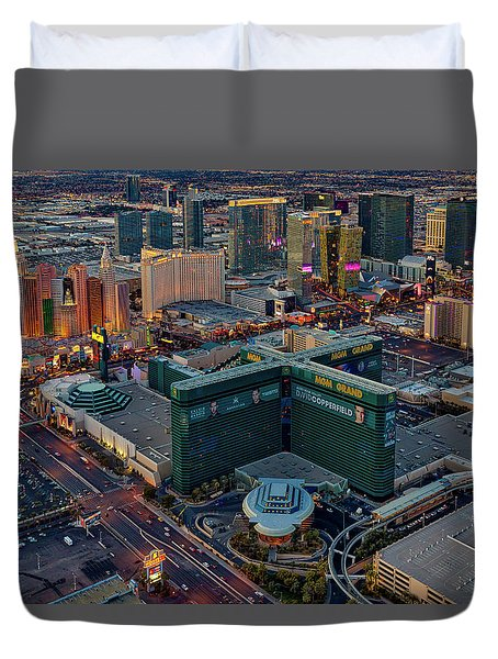 Duvet Cover featuring the photograph Las Vegas Nv Strip Aerial by Susan Candelario