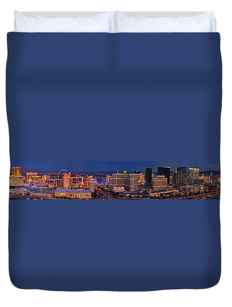 Duvet Cover featuring the photograph Las Vegas Panoramic Aerial View by Susan Candelario