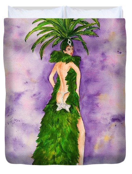 Duvet Cover featuring the painting Las Vegas Show Girl by Vicki  Housel