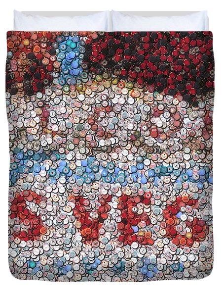 Las Vegas Sign Poker Chip Mosaic Duvet Cover by Paul Van Scott