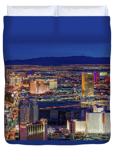 Duvet Cover featuring the photograph Las Vegas Strip From The Stratosphere Wide by Aloha Art