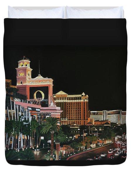 Las Vegas Strip Oil On Canvas Duvet Cover
