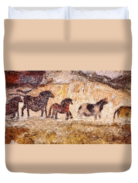 Lascaux Horses Duvet Cover